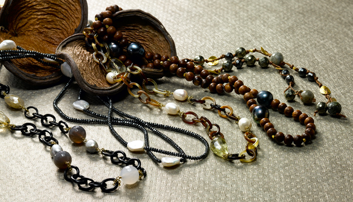 Long necklaces great for layering..wear them long or wrap them a few times. Pieces shown in horn, spinel, wood and hematite with pearl and gemstone accents.