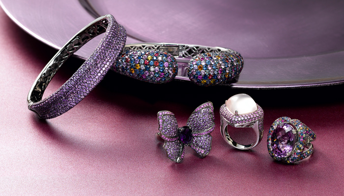Amethyst and shades of sapphire sparkle in bangles and rings set in sterling silver.