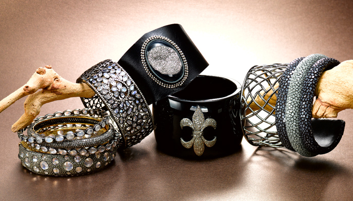 designer cuffs and bangles with moonstone & diamonds in sterling silver